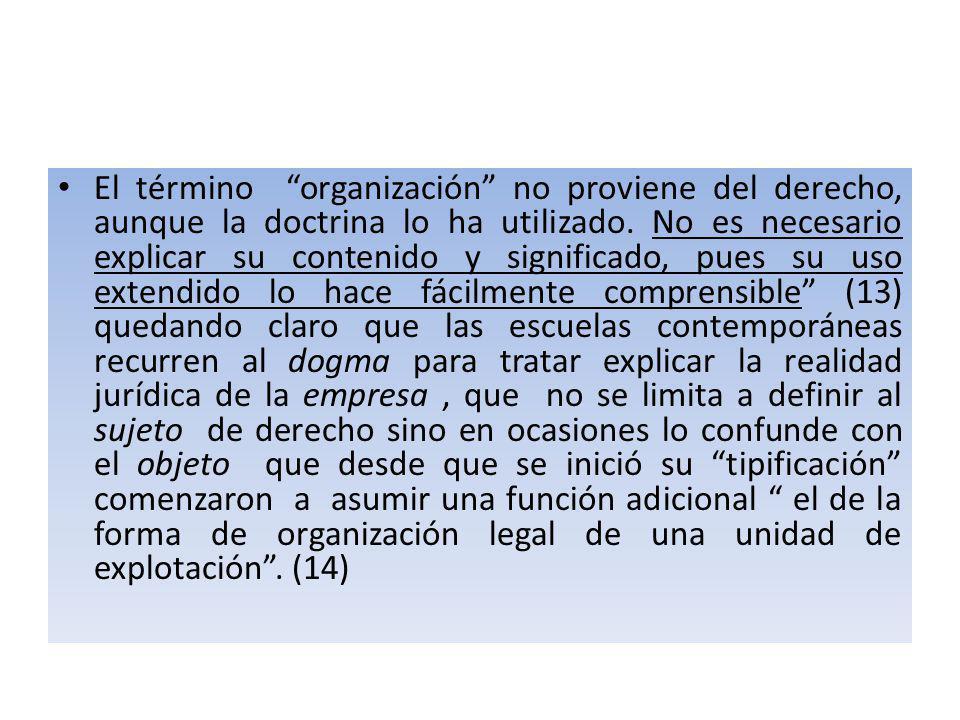 El término organización no proviene del derecho, aunque la doctrina lo ha utilizado.