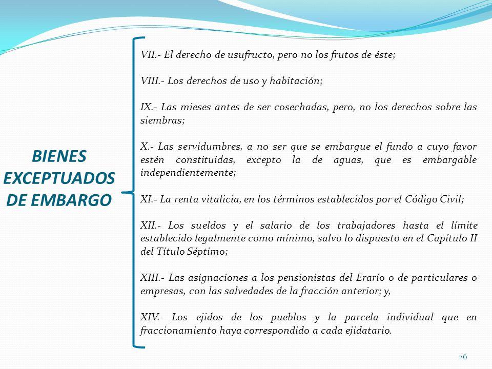 BIENES EXCEPTUADOS DE EMBARGO