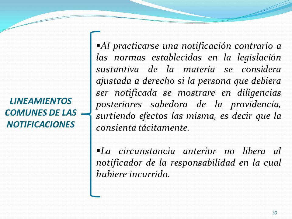 LINEAMIENTOS COMUNES DE LAS NOTIFICACIONES