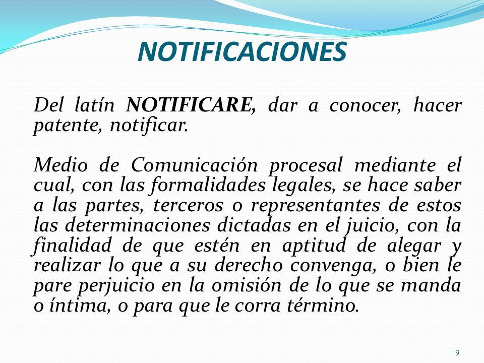 NOTIFICACIONES Del latín NOTIFICARE, dar a conocer, hacer patente, notificar.