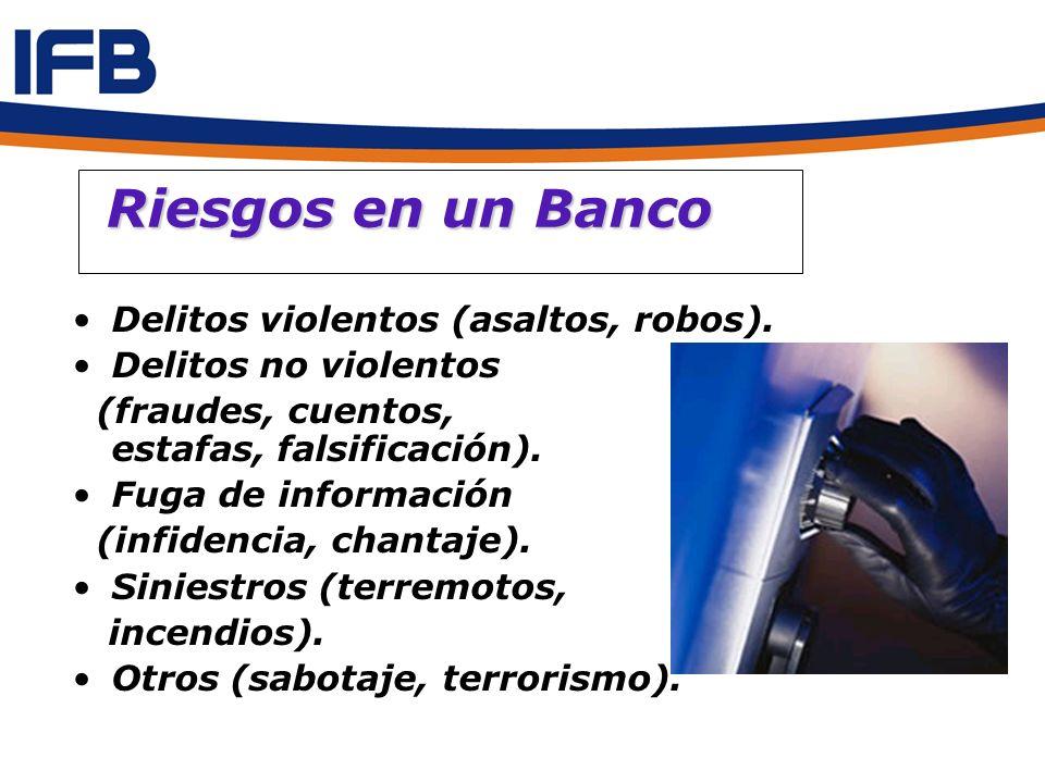 Riesgos en un Banco Delitos violentos (asaltos, robos).