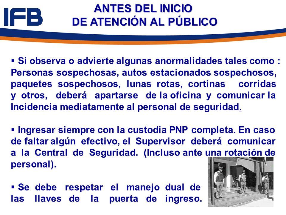 ANTES DEL INICIO DE ATENCIÓN AL PÚBLICO