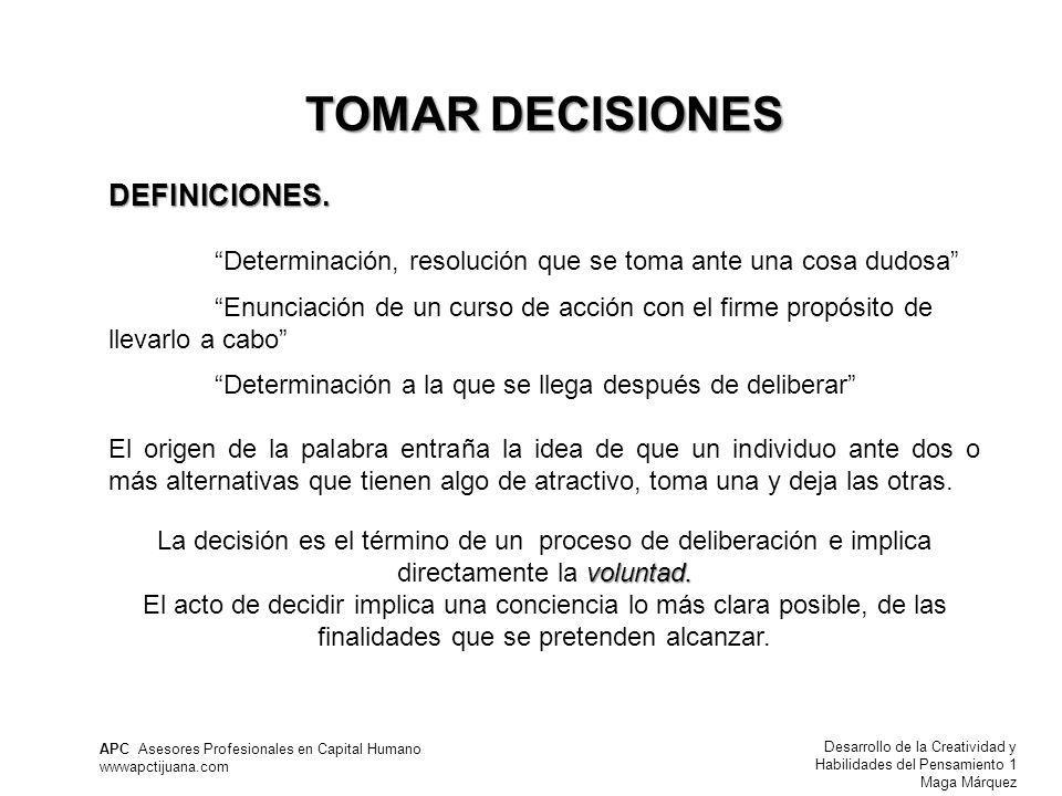 TOMAR DECISIONES DEFINICIONES.