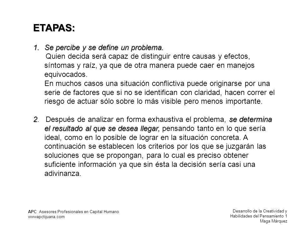 ETAPAS: Se percibe y se define un problema.