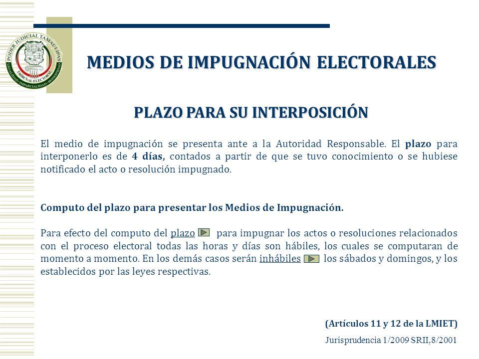 MEDIOS DE IMPUGNACIÓN ELECTORALES PLAZO PARA SU INTERPOSICIÓN