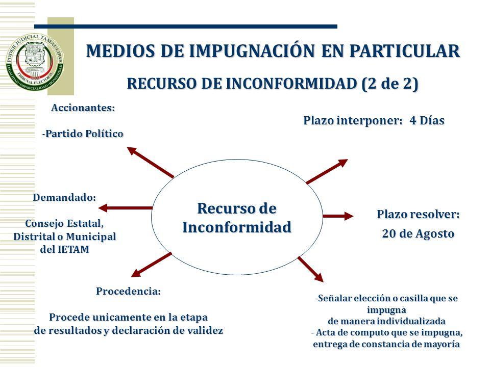 MEDIOS DE IMPUGNACIÓN EN PARTICULAR