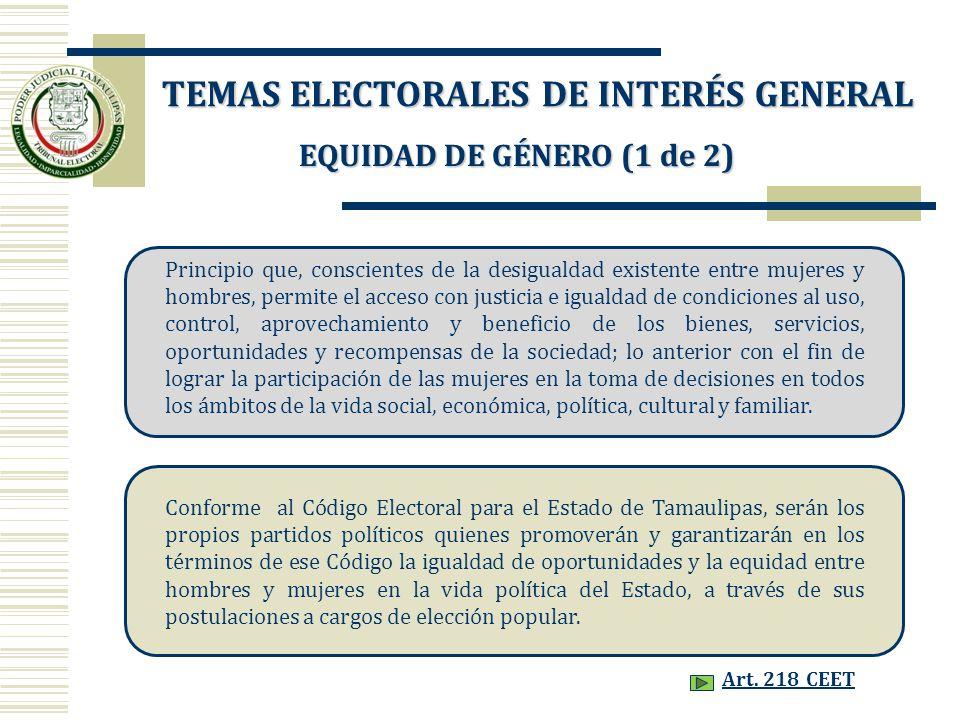 TEMAS ELECTORALES DE INTERÉS GENERAL