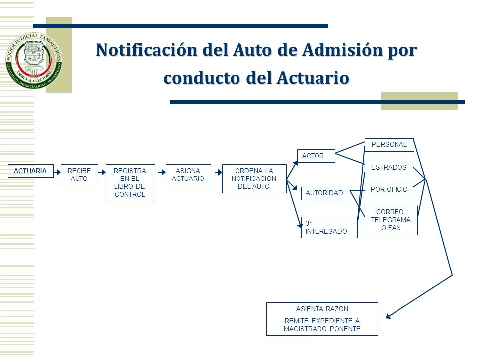 Notificación del Auto de Admisión por conducto del Actuario