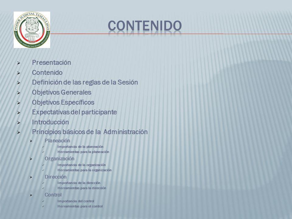 CONTENIDO Presentación Contenido Definición de las reglas de la Sesión