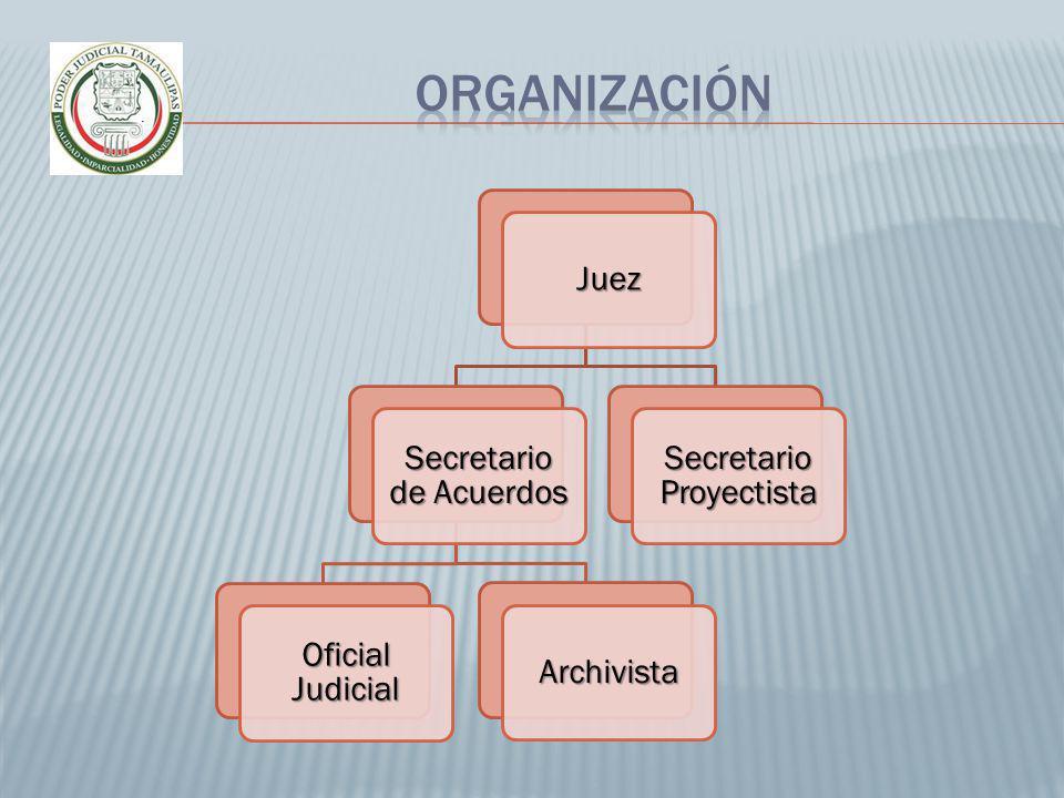 Organización Juez Secretario de Acuerdos Oficial Judicial Archivista