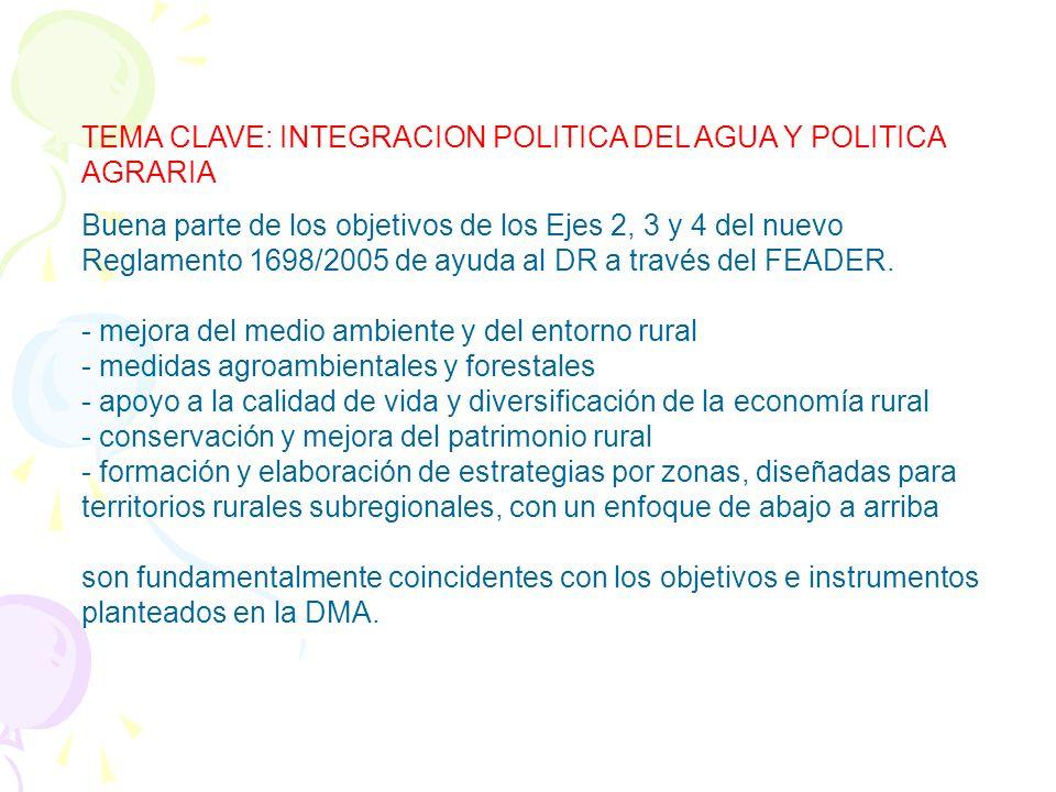 TEMA CLAVE: INTEGRACION POLITICA DEL AGUA Y POLITICA AGRARIA