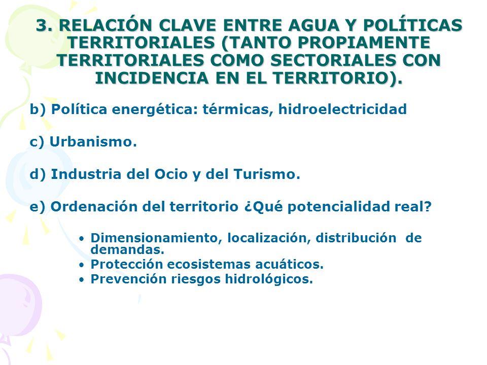 3. RELACIÓN CLAVE ENTRE AGUA Y POLÍTICAS TERRITORIALES (TANTO PROPIAMENTE TERRITORIALES COMO SECTORIALES CON INCIDENCIA EN EL TERRITORIO).