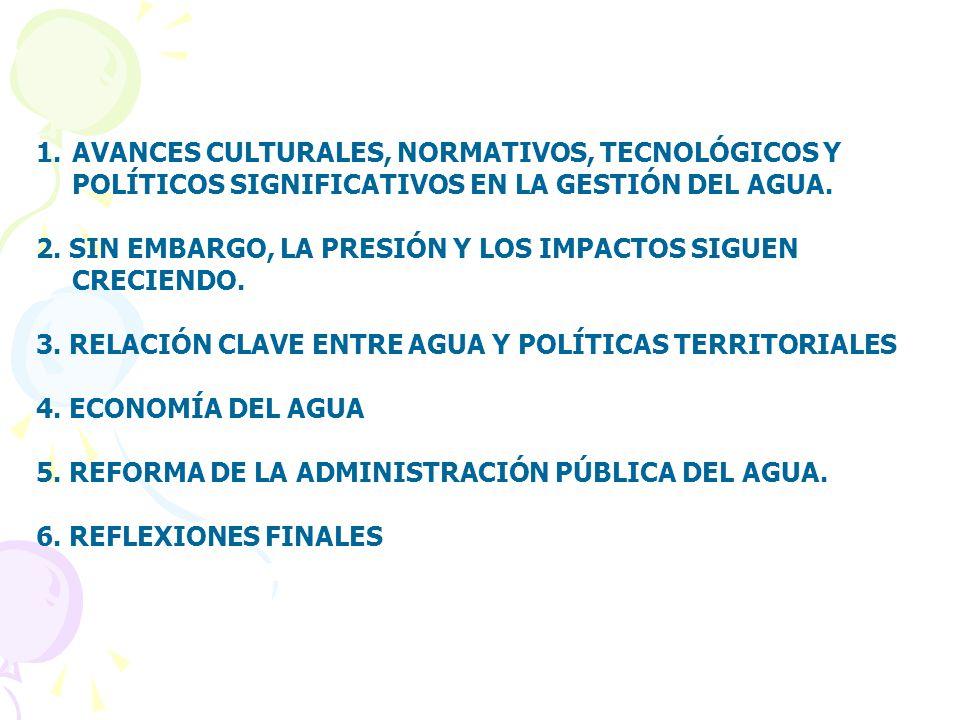 AVANCES CULTURALES, NORMATIVOS, TECNOLÓGICOS Y POLÍTICOS SIGNIFICATIVOS EN LA GESTIÓN DEL AGUA.