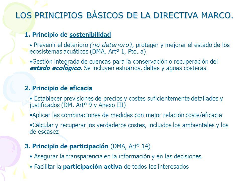 LOS PRINCIPIOS BÁSICOS DE LA DIRECTIVA MARCO.