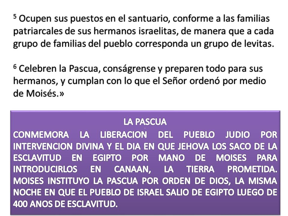5 Ocupen sus puestos en el santuario, conforme a las familias patriarcales de sus hermanos israelitas, de manera que a cada grupo de familias del pueblo corresponda un grupo de levitas.