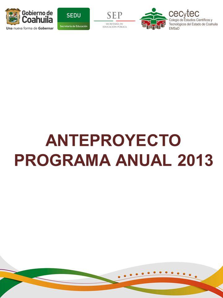 ANTEPROYECTO PROGRAMA ANUAL 2013