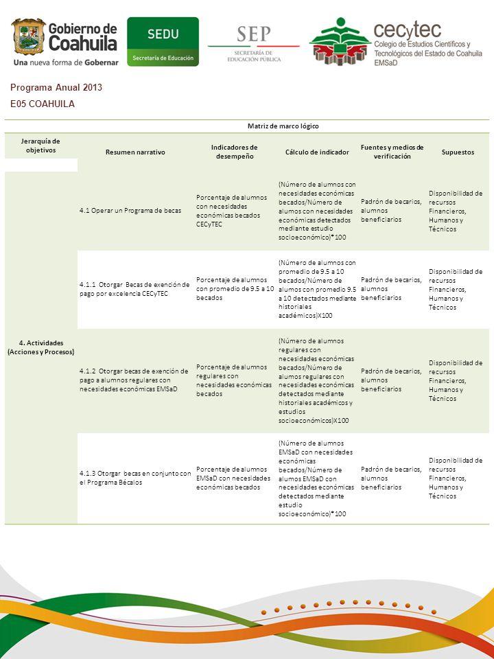 Programa Anual 2013 E05 COAHUILA Matriz de marco lógico Jerarquía de
