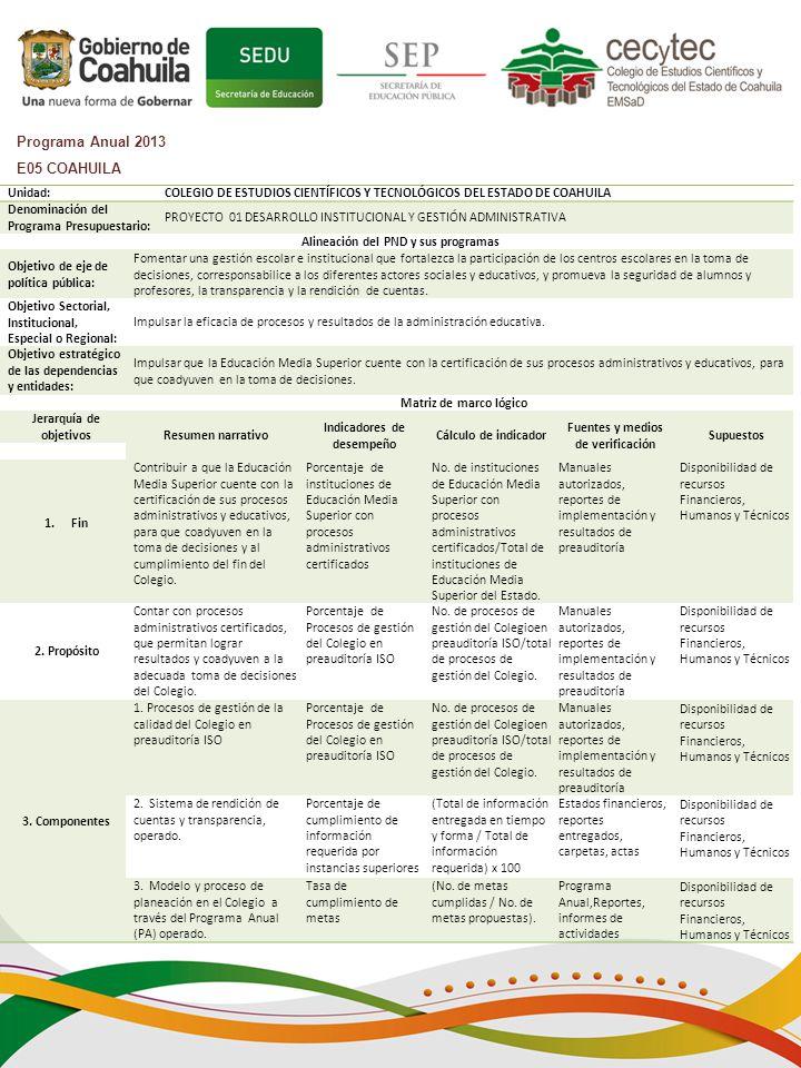 Programa Anual 2013 E05 COAHUILA Unidad: