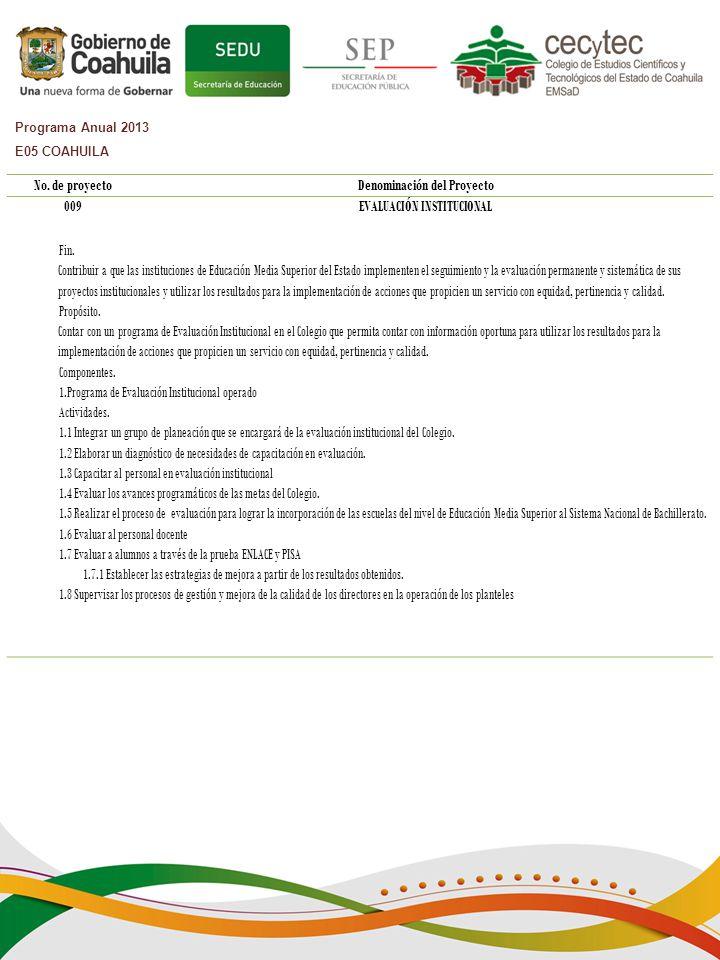 Denominación del Proyecto EVALUACIÓN INSTITUCIONAL