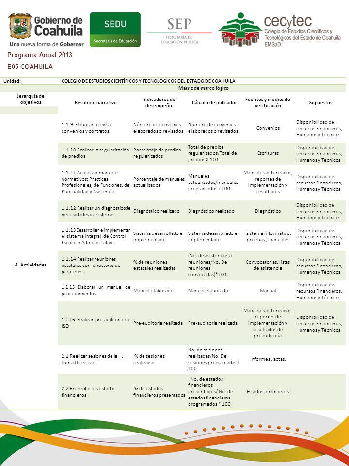 Indicadores de desempeño Fuentes y medios de verificación