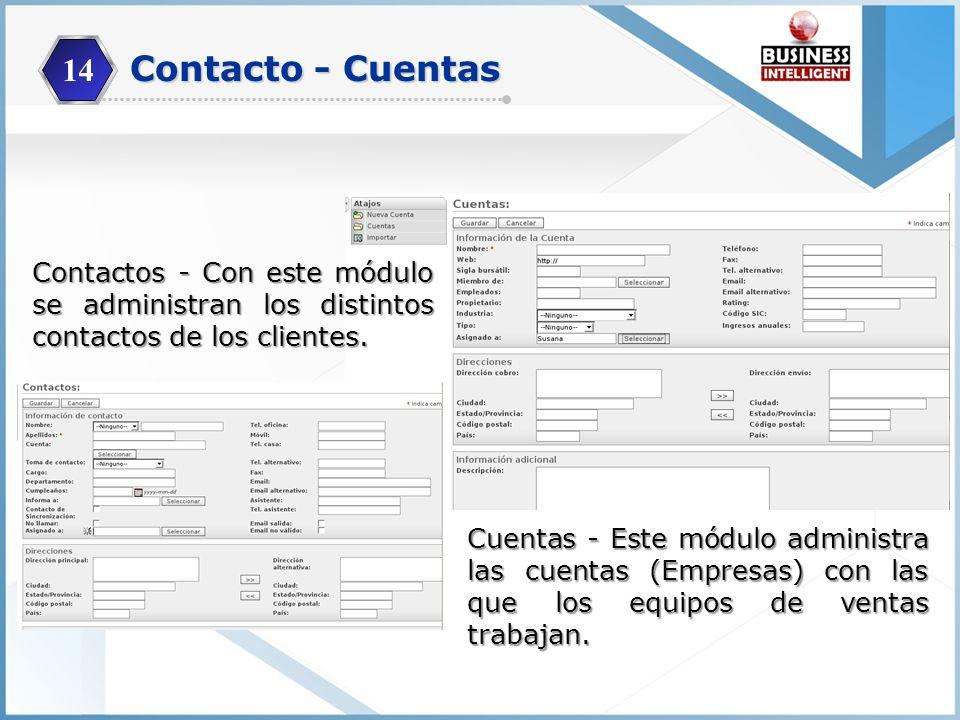 14 Contacto - Cuentas. Contactos - Con este módulo se administran los distintos contactos de los clientes.