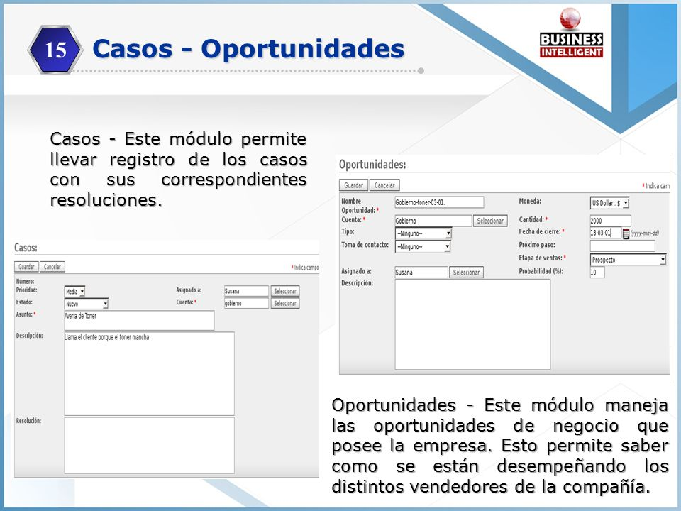 15 Casos - Oportunidades. Casos - Este módulo permite llevar registro de los casos con sus correspondientes resoluciones.