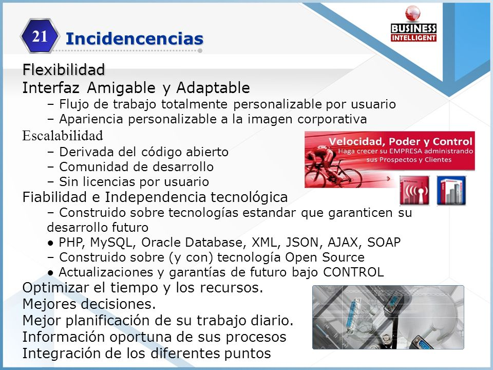 21 Incidencencias Flexibilidad Interfaz Amigable y Adaptable