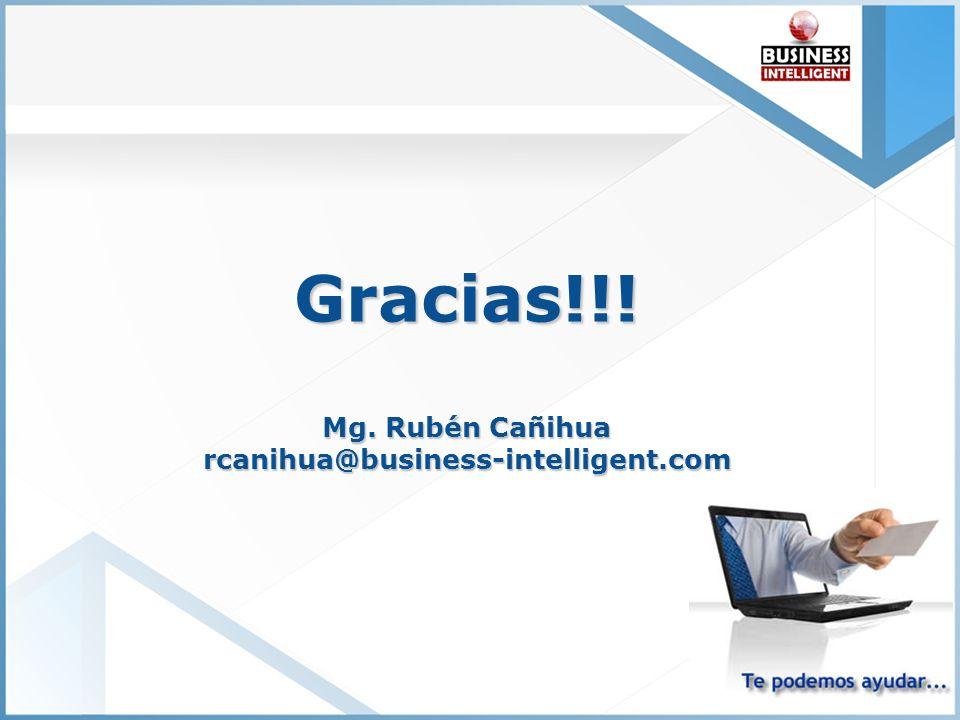 Gracias!!! Mg. Rubén Cañihua rcanihua@business-intelligent.com