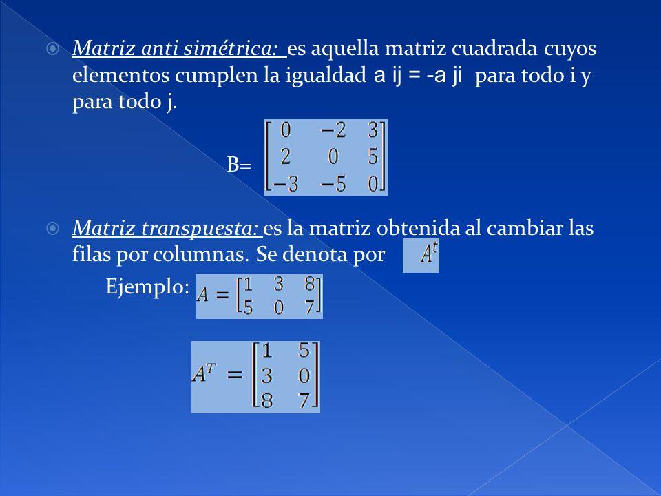 Matriz anti simétrica: es aquella matriz cuadrada cuyos elementos cumplen la igualdad a ij = -a ji para todo i y para todo j.