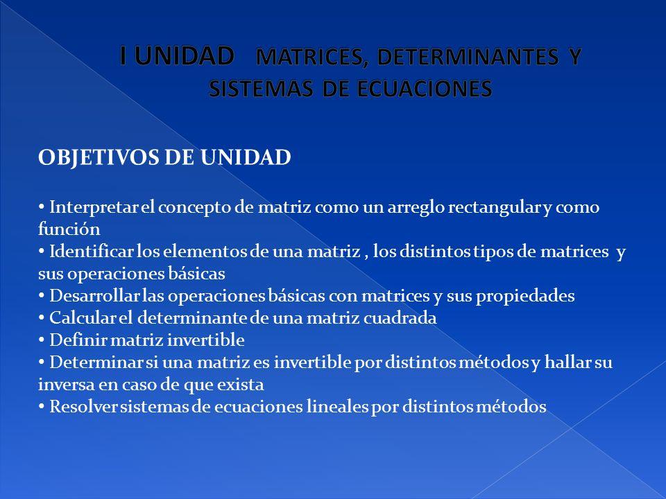 I UNIDAD MATRICES, DETERMINANTES Y SISTEMAS DE ECUACIONES