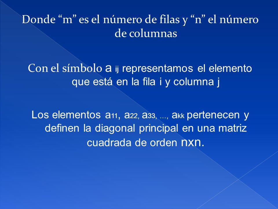 Donde m es el número de filas y n el número de columnas