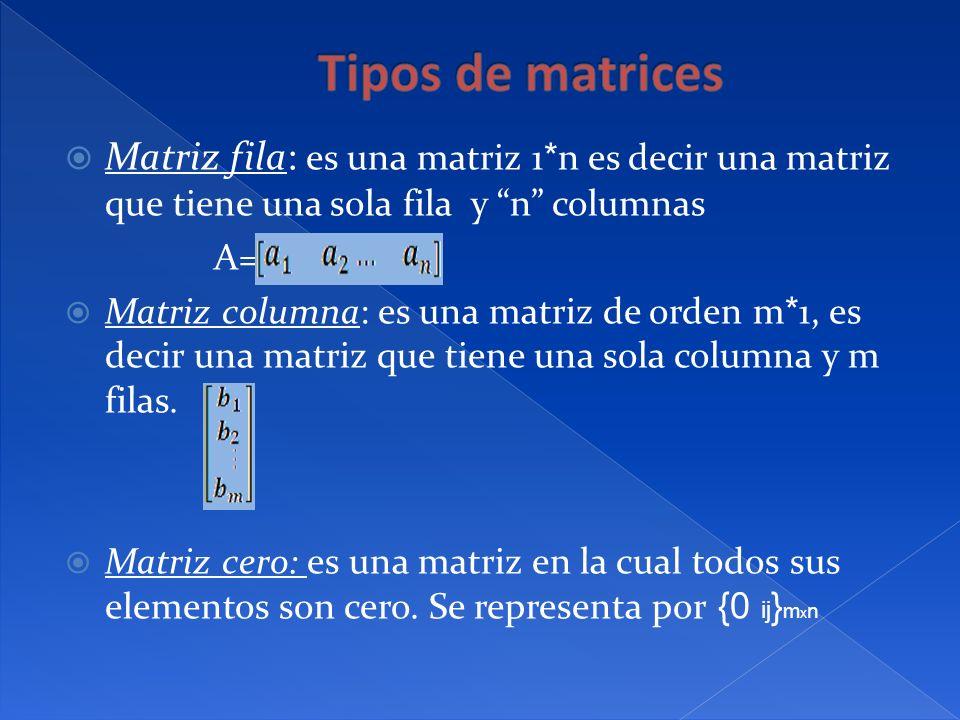 Tipos de matrices Matriz fila: es una matriz 1*n es decir una matriz que tiene una sola fila y n columnas.