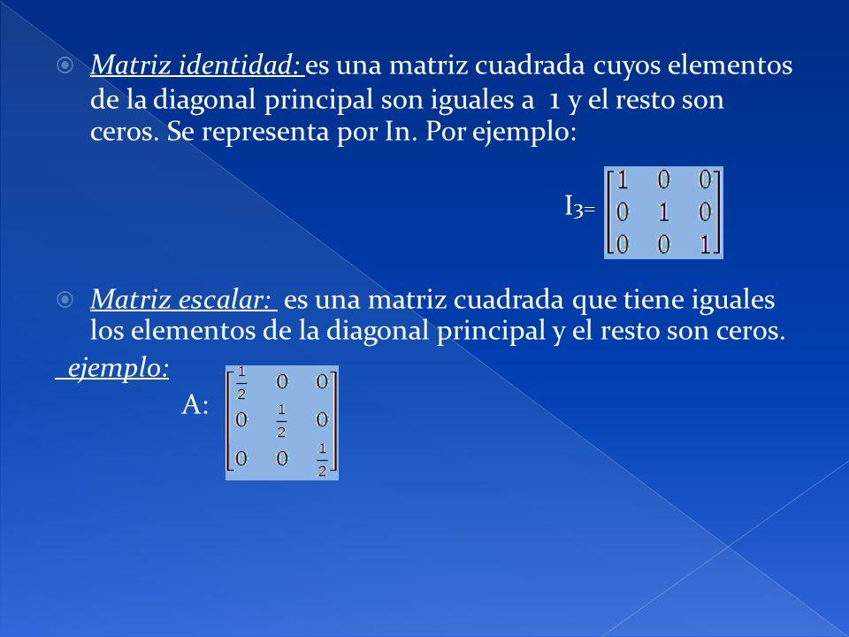 Matriz identidad: es una matriz cuadrada cuyos elementos de la diagonal principal son iguales a 1 y el resto son ceros. Se representa por In. Por ejemplo: