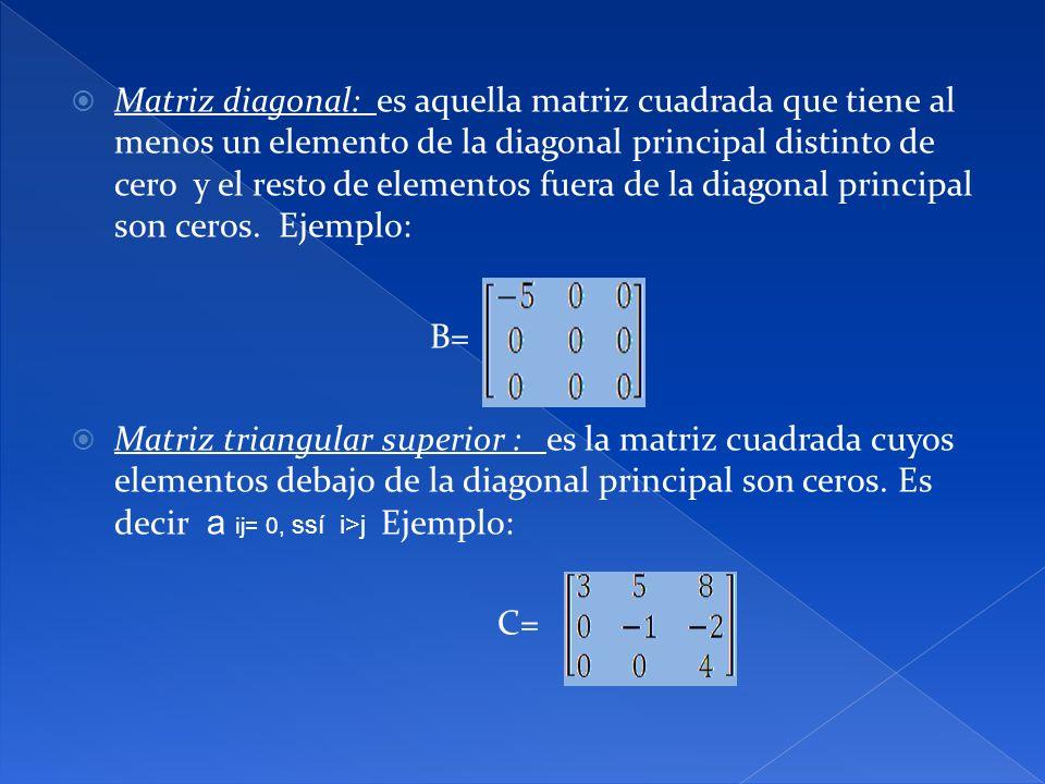 Matriz diagonal: es aquella matriz cuadrada que tiene al menos un elemento de la diagonal principal distinto de cero y el resto de elementos fuera de la diagonal principal son ceros. Ejemplo: