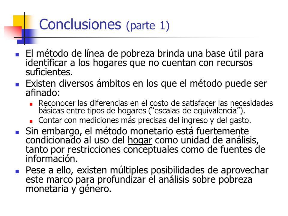 Conclusiones (parte 1) El método de línea de pobreza brinda una base útil para identificar a los hogares que no cuentan con recursos suficientes.