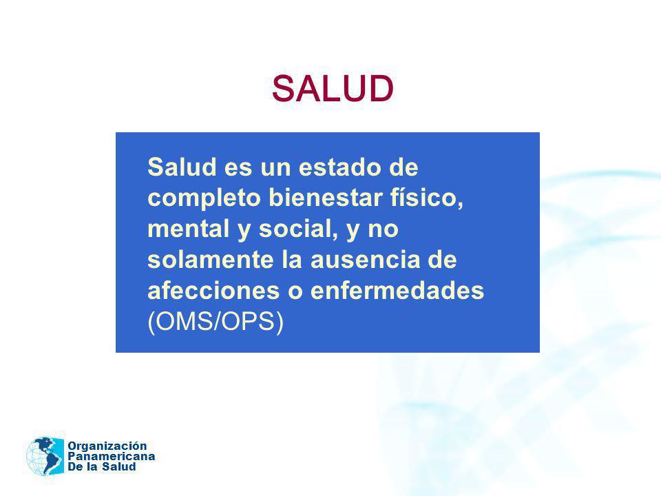 SALUD Salud es un estado de completo bienestar físico, mental y social, y no solamente la ausencia de afecciones o enfermedades (OMS/OPS)