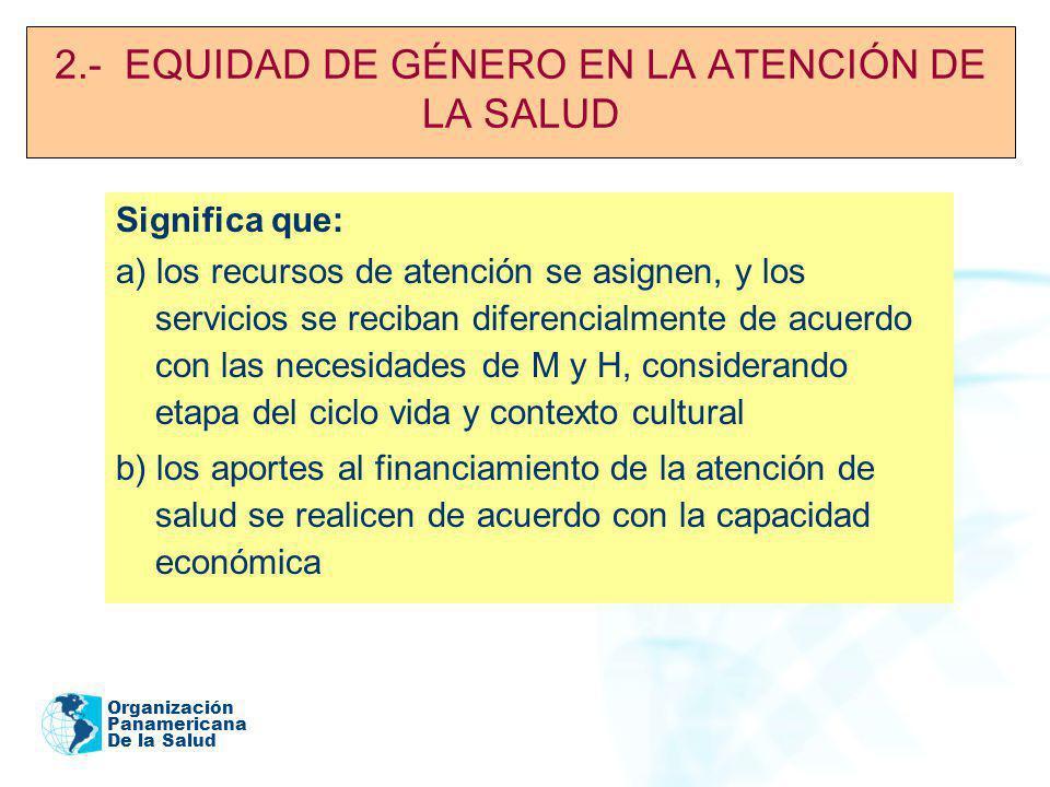 2.- EQUIDAD DE GÉNERO EN LA ATENCIÓN DE LA SALUD