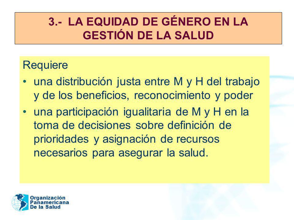 3.- LA EQUIDAD DE GÉNERO EN LA GESTIÓN DE LA SALUD
