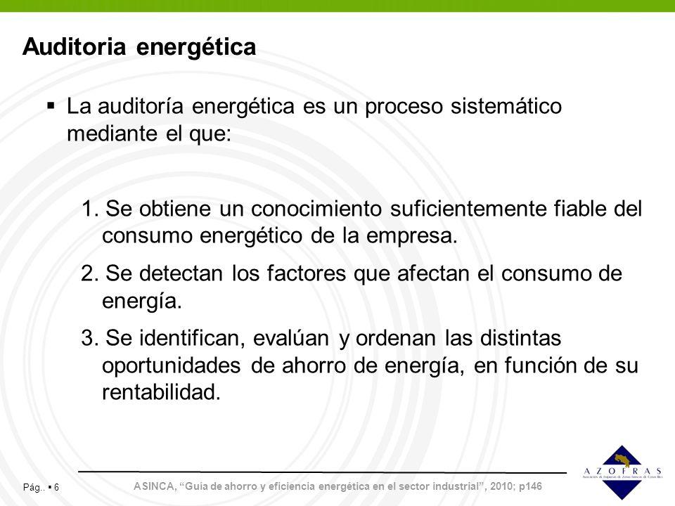 Auditoria energética La auditoría energética es un proceso sistemático mediante el que: