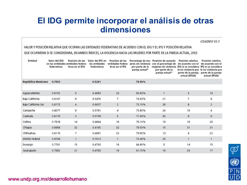 El IDG permite incorporar el análisis de otras dimensiones