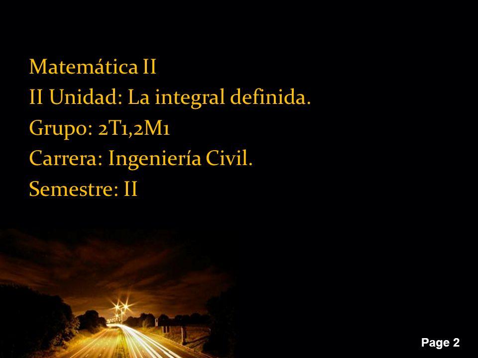 Matemática II II Unidad: La integral definida