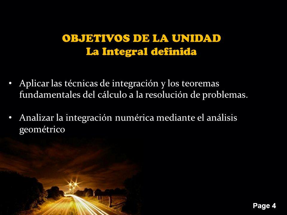 OBJETIVOS DE LA UNIDAD La Integral definida