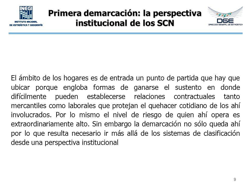 Primera demarcación: la perspectiva institucional de los SCN