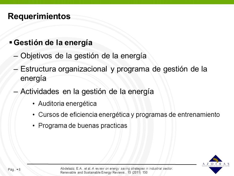 Requerimientos Gestión de la energía