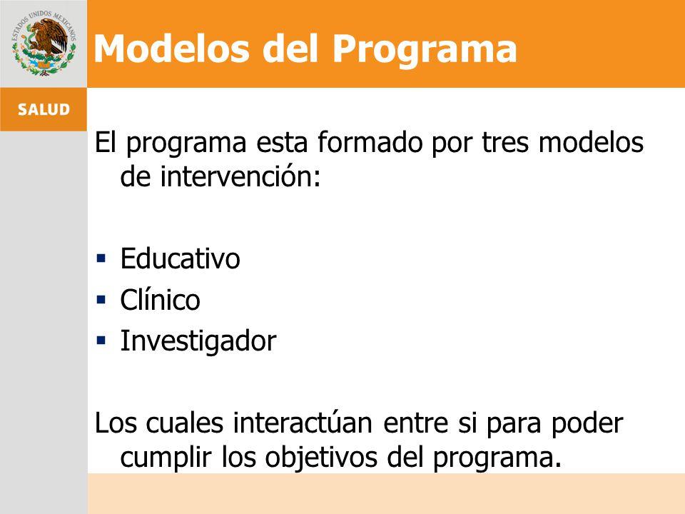 Modelos del Programa El programa esta formado por tres modelos de intervención: Educativo. Clínico.
