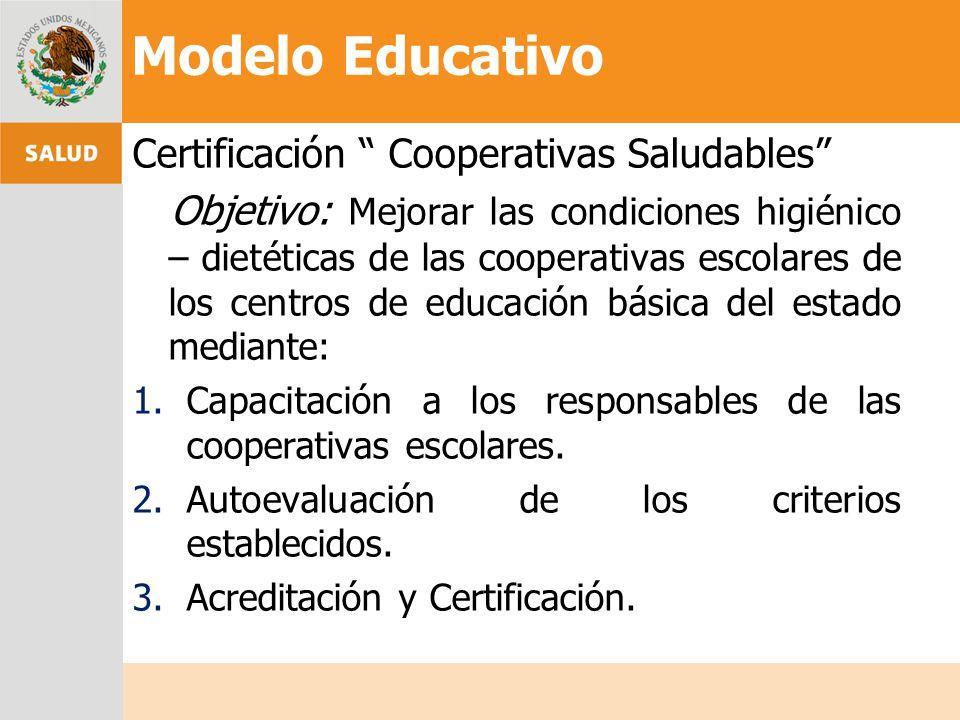 Modelo Educativo Certificación Cooperativas Saludables