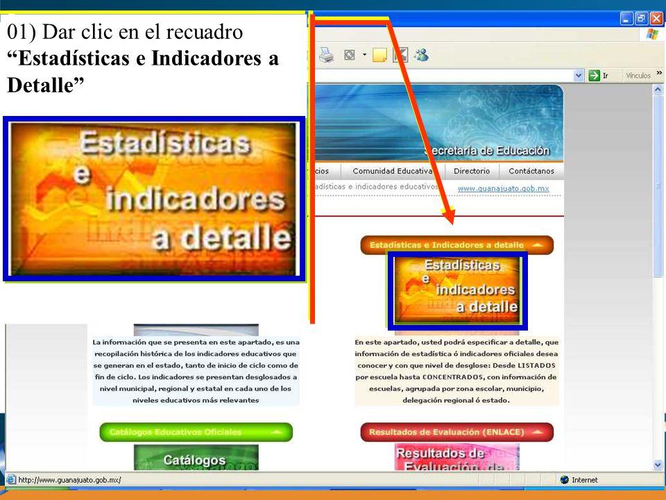 01) Dar clic en el recuadro Estadísticas e Indicadores a Detalle