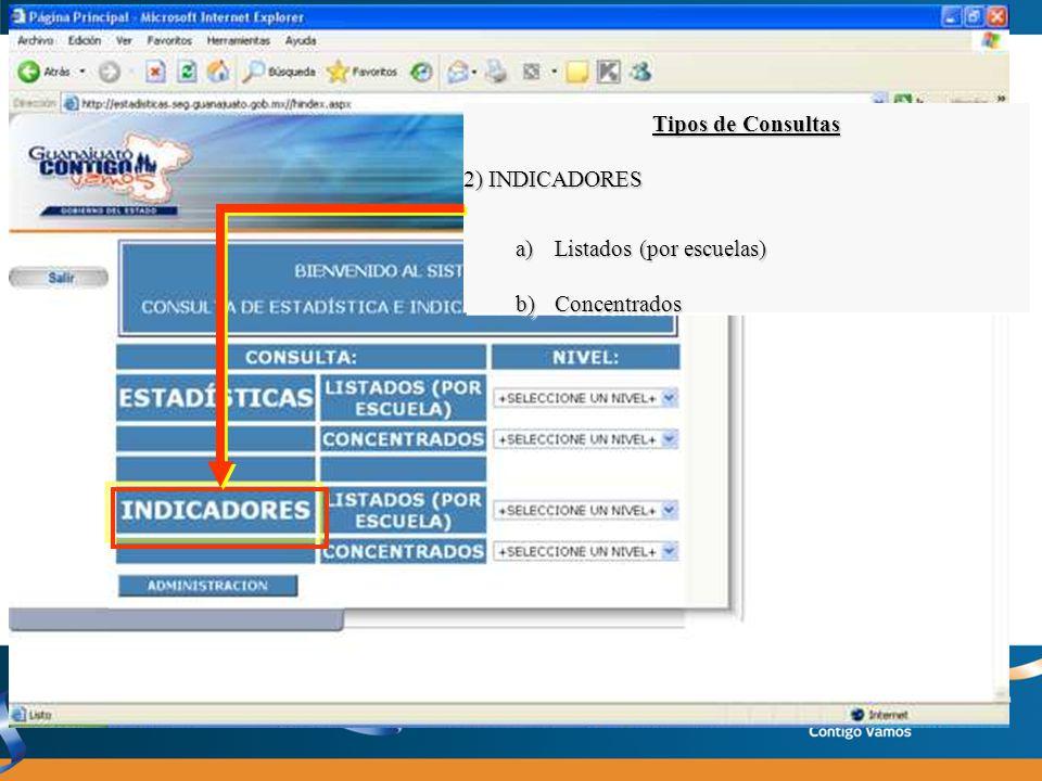 Tipos de Consultas 2) INDICADORES Listados (por escuelas) Concentrados