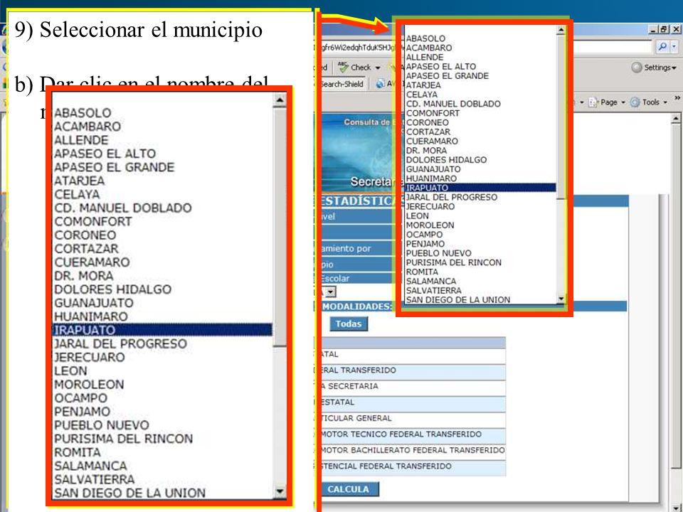 9) Seleccionar el municipio