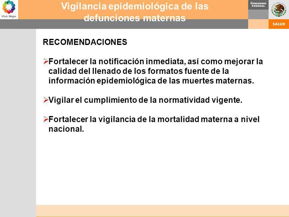 Vigilancia epidemiológica de las defunciones maternas
